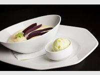 Marinated pear with mascarpone sabayon