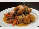 Baby chicken roasted in butter with chestnut stuffing,
